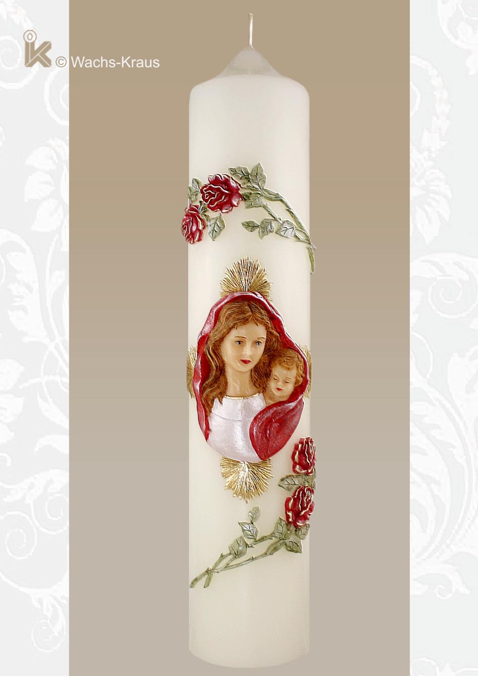 Klassische Marienkerze mit einer wunderschönen Mutter Gottes, umgeben von Strahlen und gerahmt von roten, aus Wachs gegossenen Rosen.