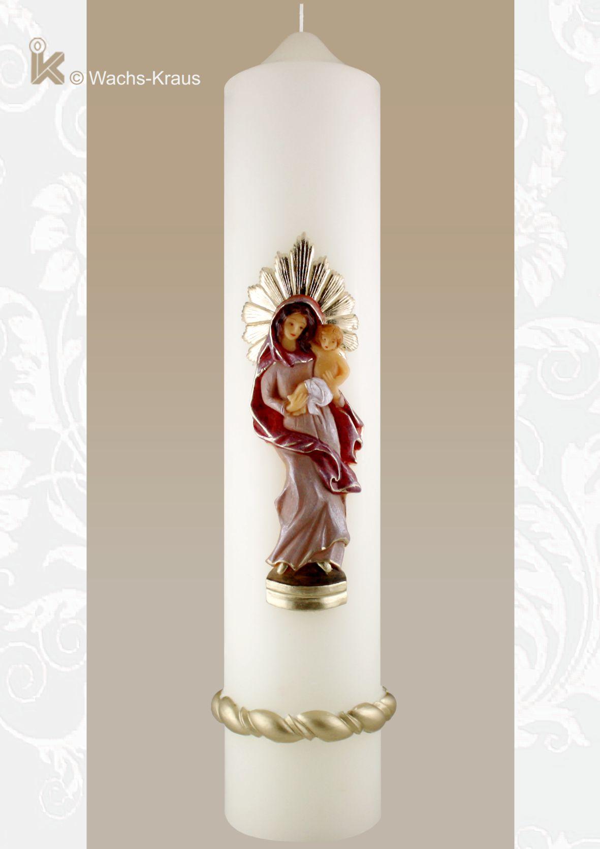 Marienkerze Maria mit Kind, rot