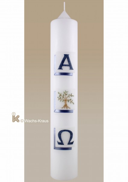 Taufkerze Baum Junge, Perlmutt-blau mit Alpha und Omega