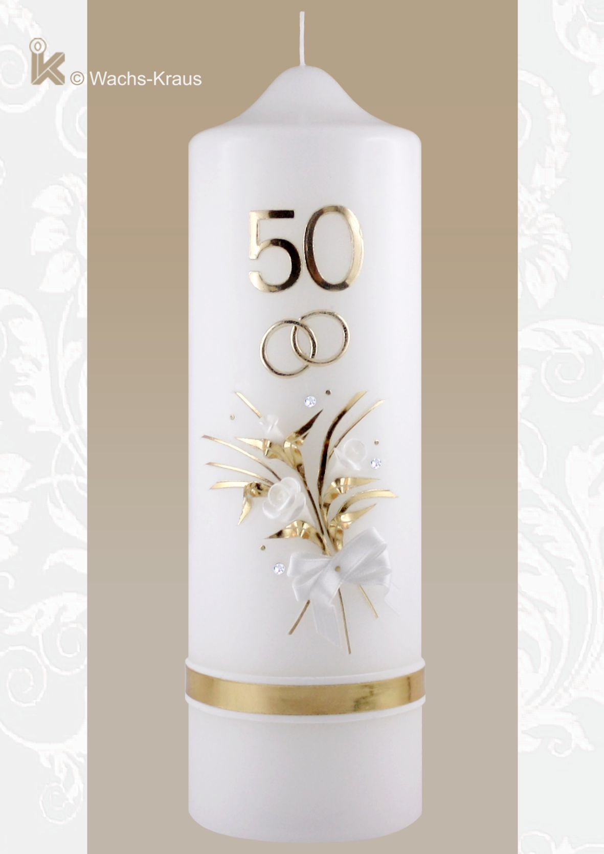 Kerze zum 50 jährigen Ehejubiläum in feinster Handarbeit gestaltet.
