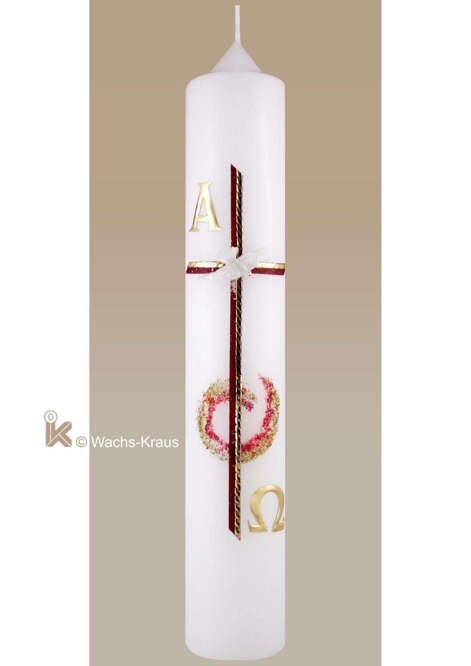 Eine eigenwillige Taufkerze für Mädchen ist diese mit ihrem in Rot und Gold gelegten Kreuz, der Taube, Alpha & Omega und der Glimmer Applikation.