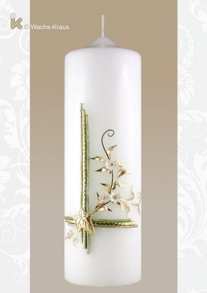 Zierkerze - Geburtstagskerze Efeu und Blumenranke