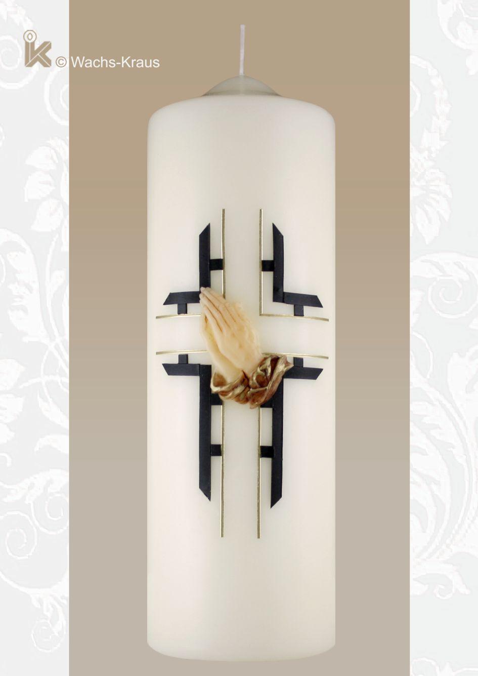 Trauerkerze - Sterbekerze Betende Hände, Kreuz