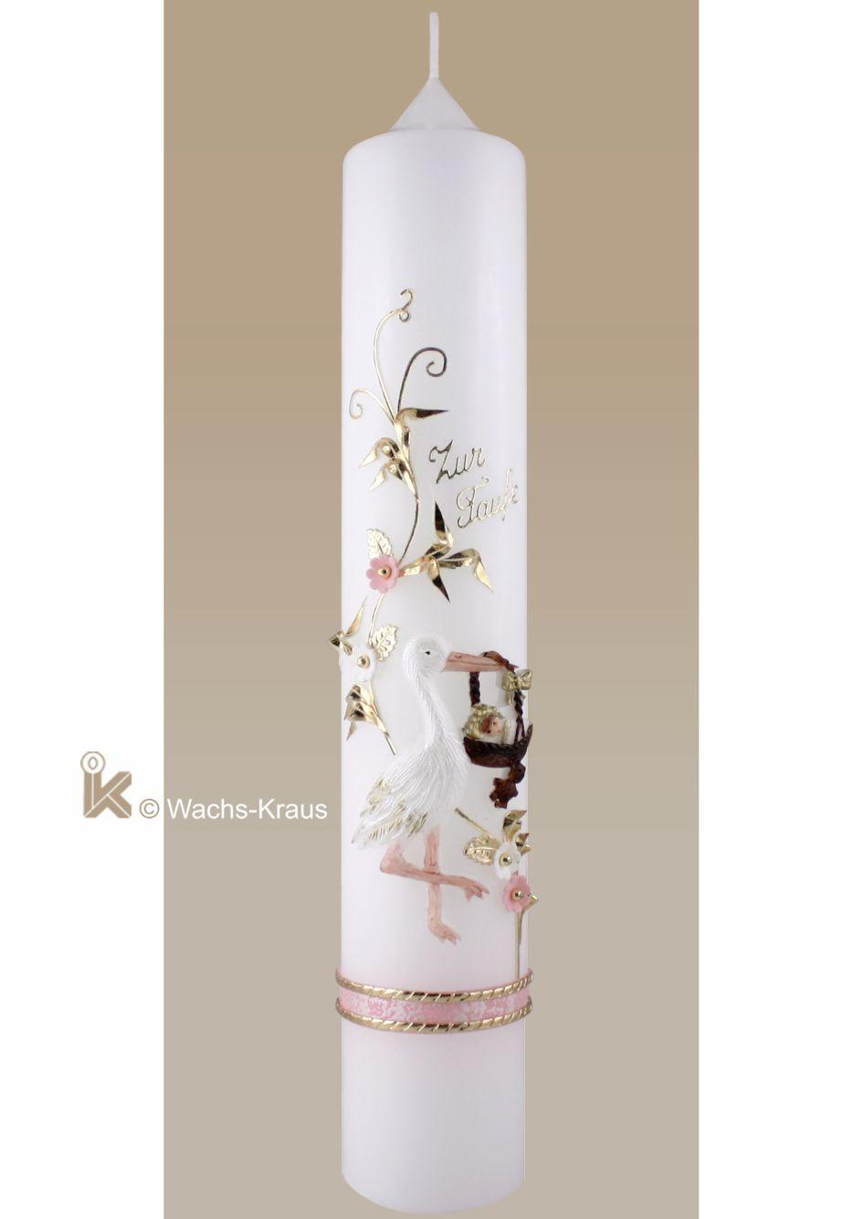 Taufkerze mit Storch rosa für Mädchen