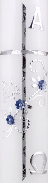 Taufkerze Junge silber - blau, Kreuz, A & O