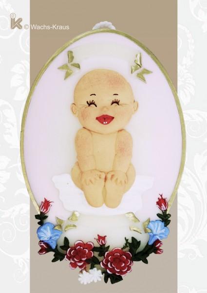 Wachsbild Baby rosa