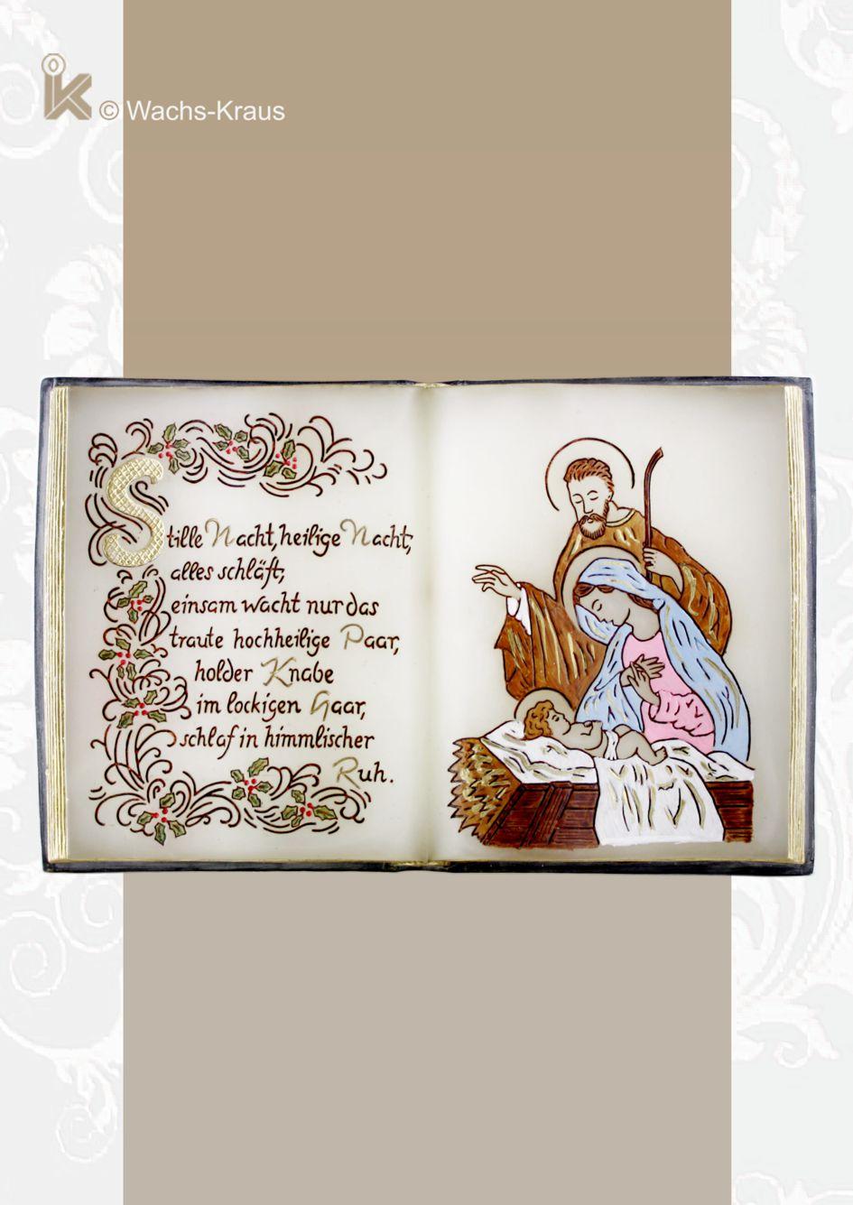 Wachsbuch Stille Nacht mit hl. Familie fein bemalt