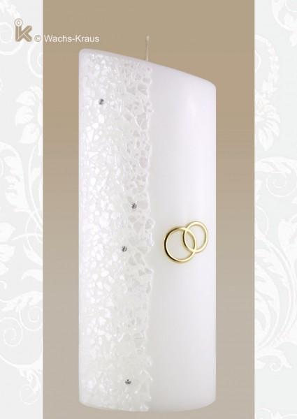 Hochzeitskerze in Ellipsen-Form mit goldenen Ringen