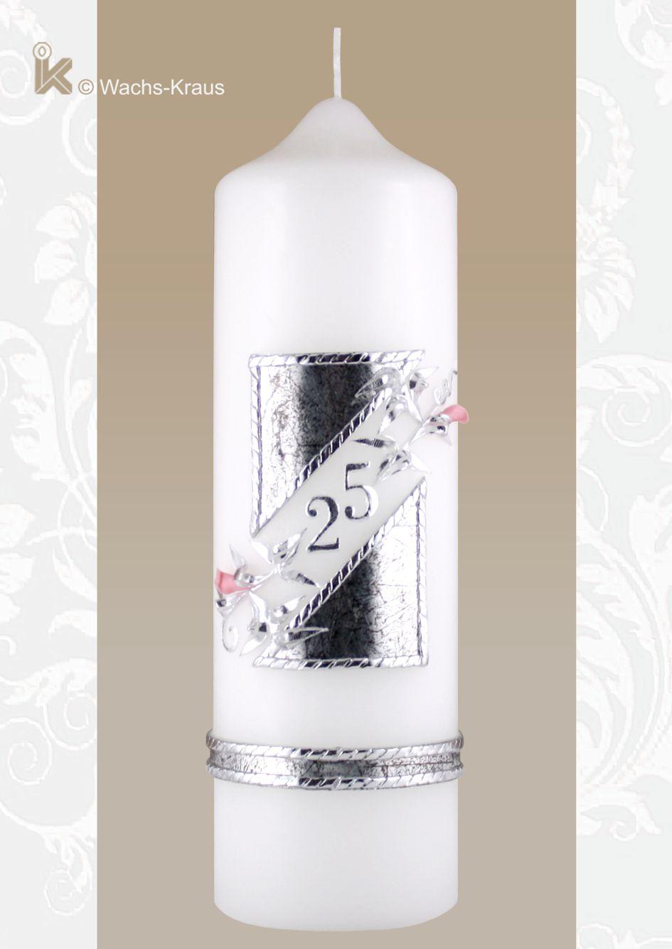 Kerze zur Silbernen Hochzeit moder im Design mit Blütenknospen