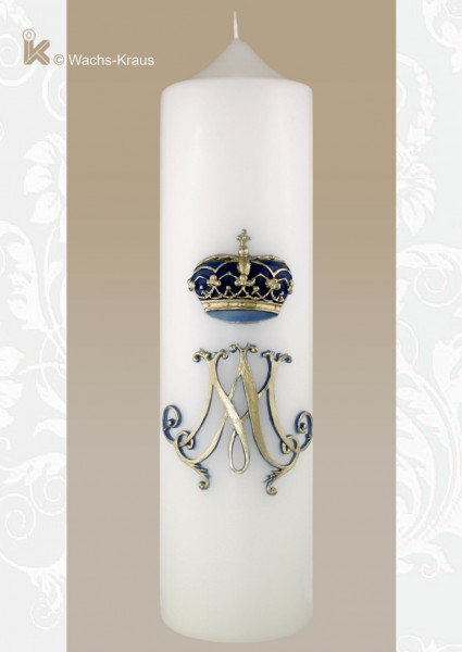 Marienkerze Krone und Monogramm