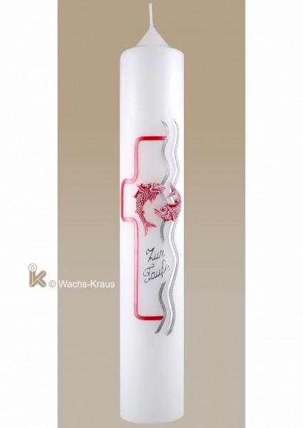 Aufwendig verzierte Taufkerze für Mädchen in edlem silber und rosa