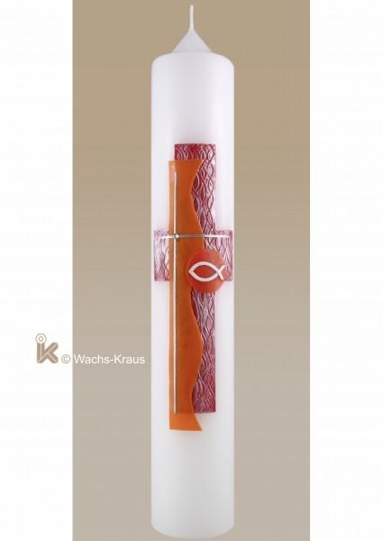 Taufkerze modern rot-orange-silber, Kreuz und Fisch