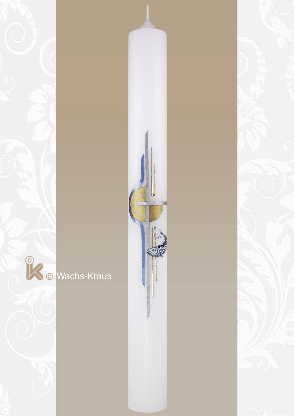 Kommunionkerze für Jungen Fisch und modernes Kreuz gold/silber/blau