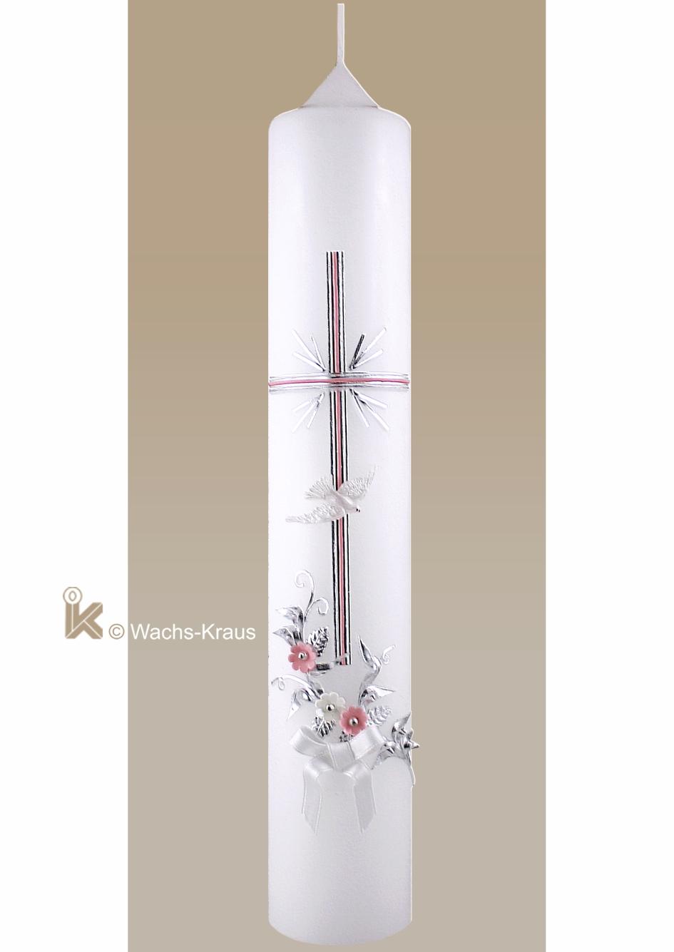 In feinster handwerklicher Tradition gestaltete Taufkerze für Mädchen. Das silbern unterlegte zartrosa Kreuz und eine Blumenranke mit Blüten.