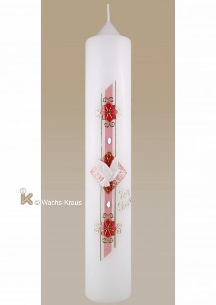 Moderne Taufkerze für Mädchen, Perlmutt rosa und gold, Taube