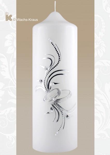 Hochzeitskerze modern silber, Ringe aus Wachs gegossen