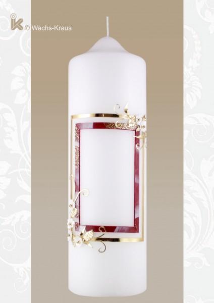 Geburtstagskerze rot-marmorierter Ramen, golden Verziert