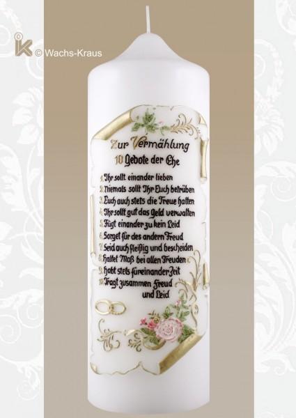 """Hochzeitskerze """"Die 10 Gebote der Ehe"""""""
