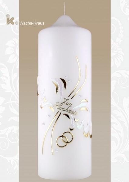 Hochzeitskerze Engelsflügel Gold mit Schriftzug und Ringen