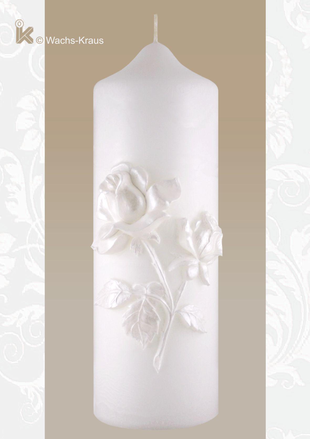Ein Traum in weiß: Hochzeitskerze mit modellierter Rose