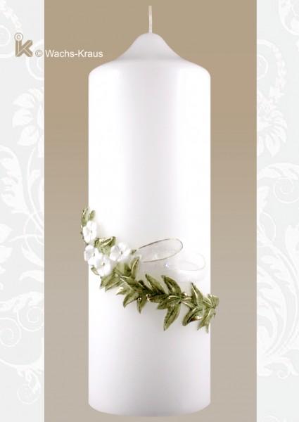 Schöne Hochzeitskerze mit einer aus Wachs gegossenen Verzierung zum günstigen Preis.