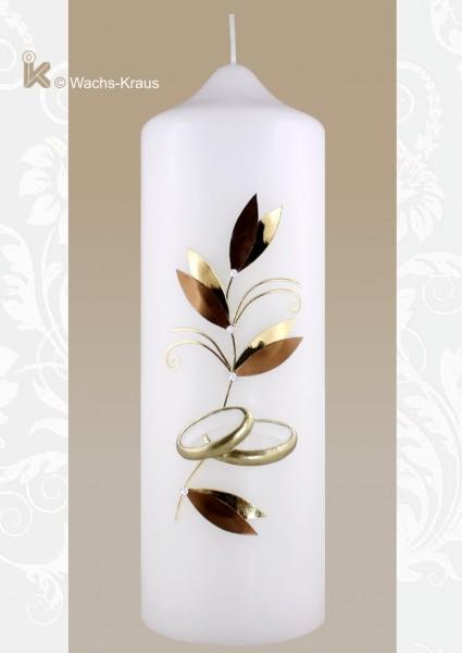 Hochzeitskerze klassisch gold Mocca, Ringe aus Wachs gegossen