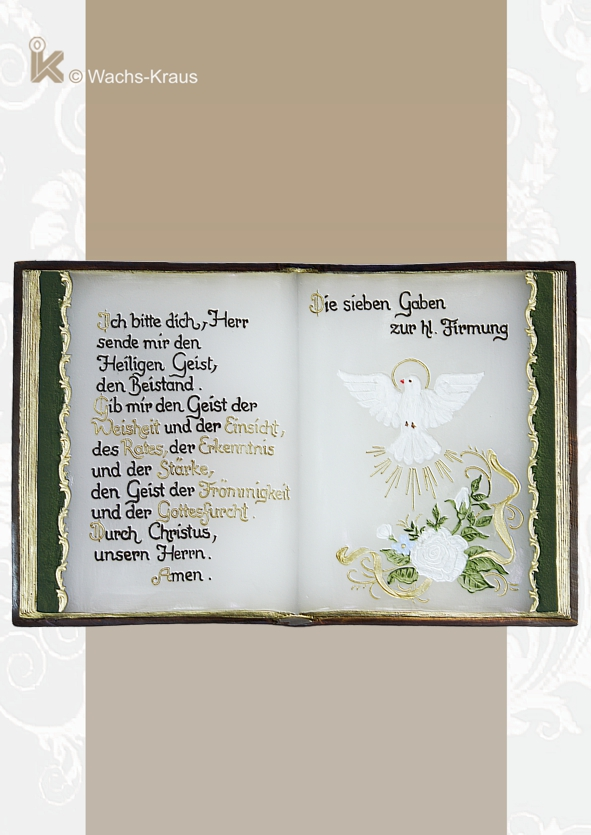 Buch aus Wachs gegossen zur hl. Firmung für Jungen. Ein würdiges Geschenk von bleibendem Erinnerungswert.