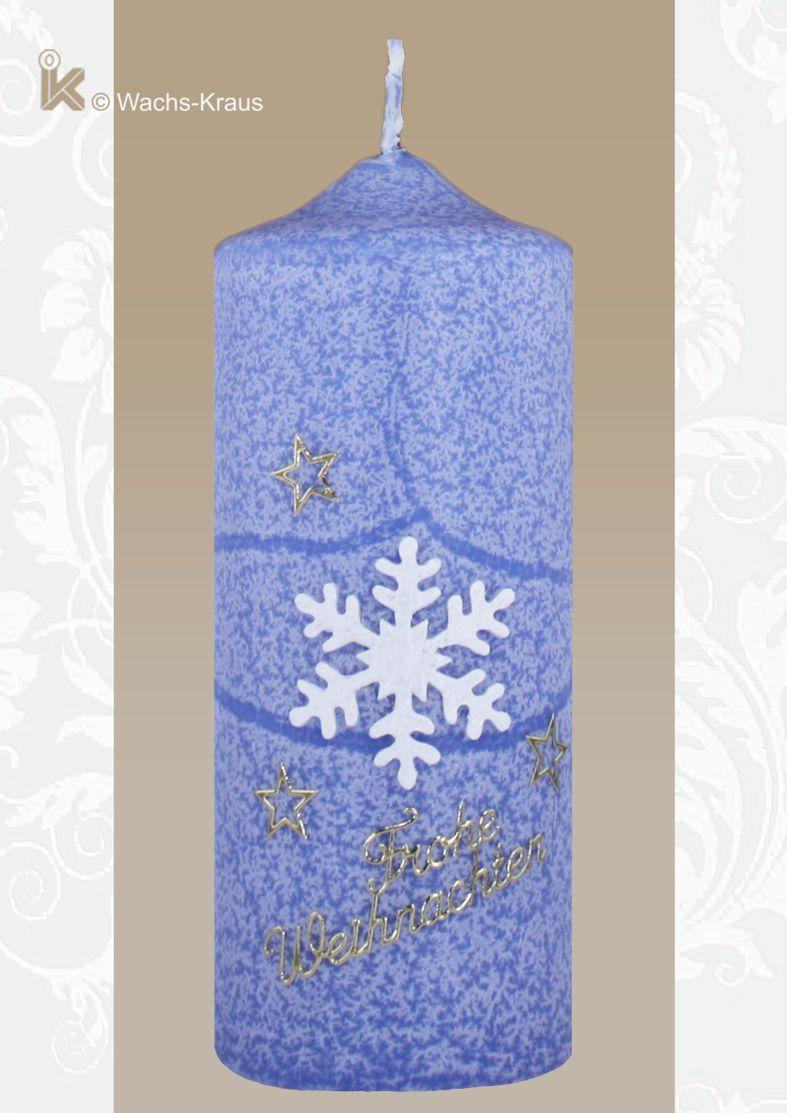 Weihnachtskerze Schneeflocke blau. Bringen Sie Licht ins Dunkel.